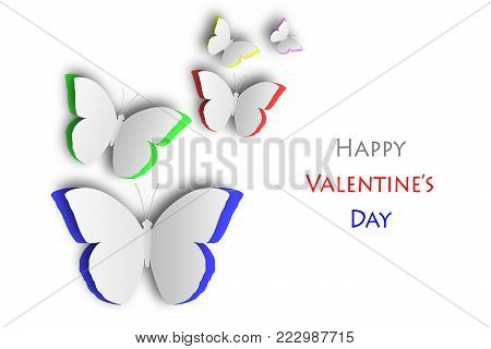 Butterflies cutout on colorful background, isolated with clipping path, love concept