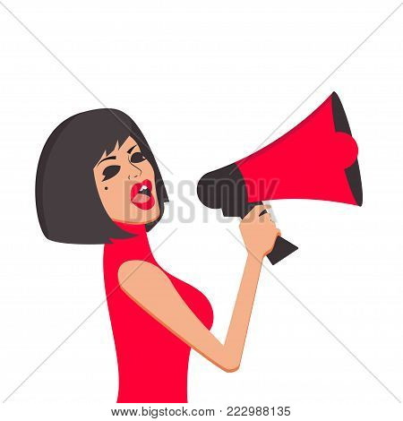 Girl shouts in megaphone. Woman holding loudspeaker. Advertising, ad, discount, special offer Vector illustration