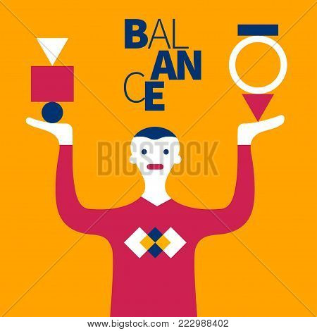 Concept of effective project management. Vector illustration of balance, zen, regulation, coaching, training, coach train
