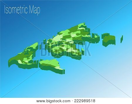Map world isometric concept. Political World Map isometric 3D infographic. EPS World map infographics design template