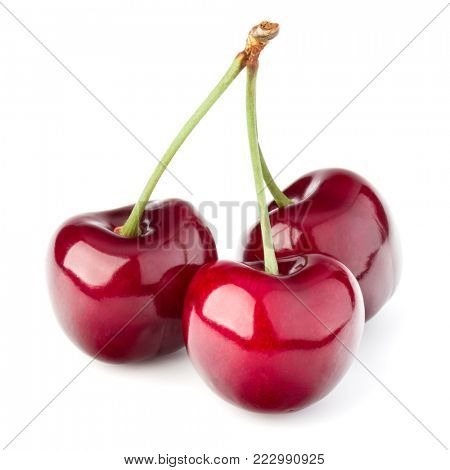 Sweet cherry isolated on white background cutout