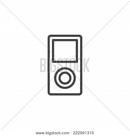 MP3 player line icon, outline vector sign, linear style pictogram isolated on white. Portable media player symbol, logo illustration. Editable stroke