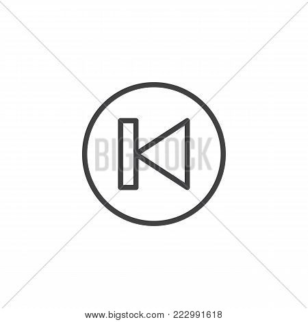 Back track button line icon, outline vector sign, linear style pictogram isolated on white. Previous sound symbol, logo illustration. Editable stroke