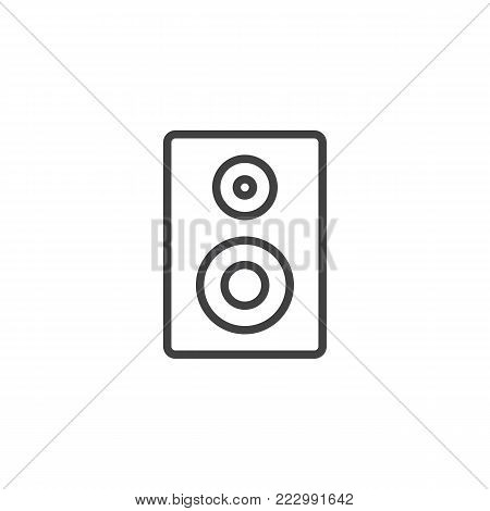 Acoustic speaker line icon, outline vector sign, linear style pictogram isolated on white. Loudspeaker stereo system symbol, logo illustration. Editable stroke