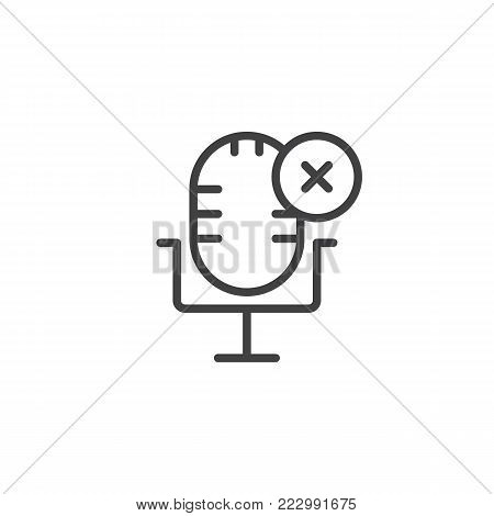 Delete record line icon, outline vector sign, linear style pictogram isolated on white. Microphone with cross symbol, logo illustration. Editable stroke
