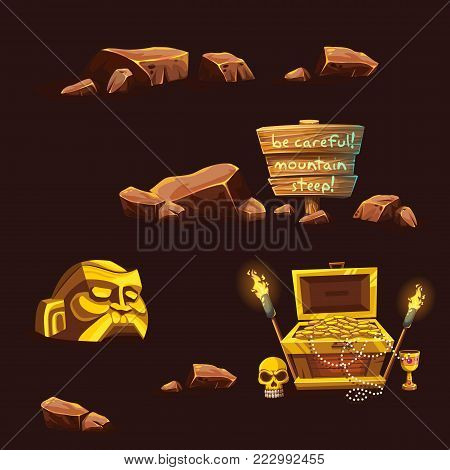 Set of wooden chest with coins for the game UI. Vector cartoon illustration of a bunch of mountains of gold coins on the background of dark brick.