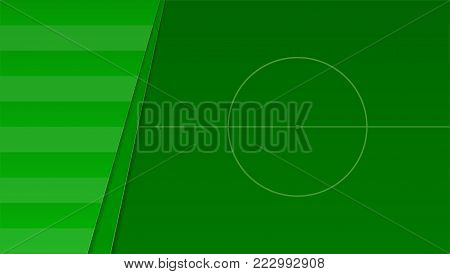Soccer or european football green field. Horizontal banner for football competition or sport events, top view. 3D illustration, template for print design, cover, posters.