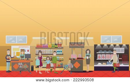 Vector illustration of grocery store or supermarket shelves, cashier, promoters advertizing products, buyers with shopping carts and baskets. People making purchases concept, flat style design.