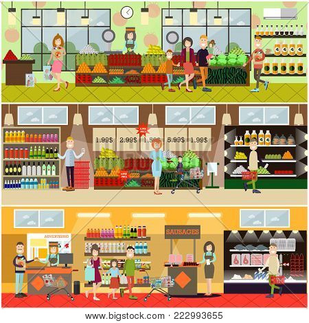 Vector set of posters with grocery store or supermarket interior with cashiers, promoters, buyers men, women, families. People making purchases concept. Flat style design. poster