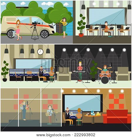 Vector set of posters with radio studio workers, dj, journalist, guitarist, drummer, pianist and singer creating content for radio broadcast. Flat style design.