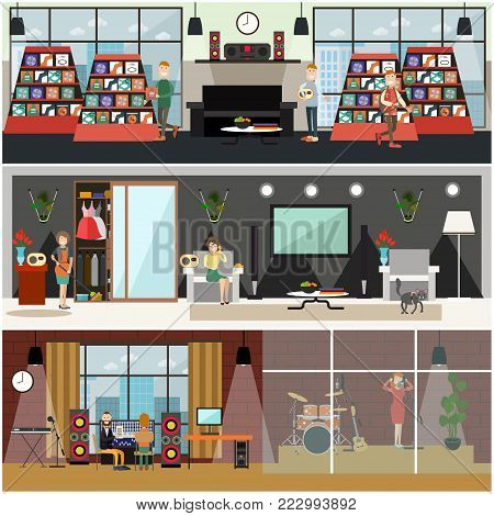 Vector set of posters with housewives listening to radio and calling in to radio, singer female in headphones singing in the microphone, people buying compact disks at music shop. Flat style design.