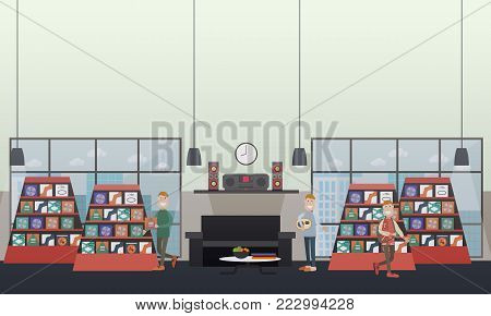 Vector illustration of men choosing CDs at music store and listening to music at home. Discs shop concept design elements in flat style.