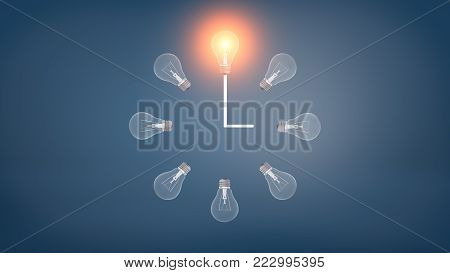 3d rendering of a several incandescent light bulbs arranged in the clock shape with one glowing bulb on the top. Right time. Ideas and innovation. Startup and new business.