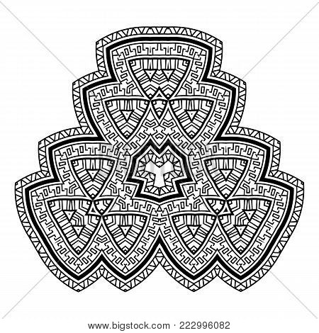 Decorative Element With A Geometric Pattern In The Greek Style. Rosette Of Geometric Elements. Stenc