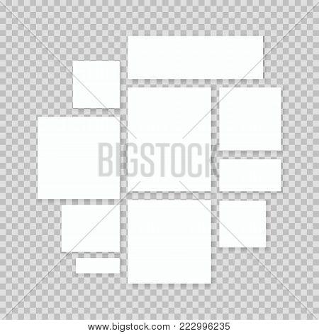 Blank white 3d paper canvas or photo frames in transparent background.Presentation photography portfolio, illustration of creative portfolio exhibition. Vector posters mockups.