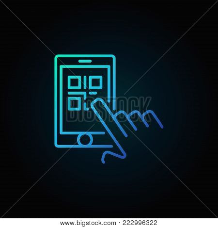 Finger touching QR code in smartphone vector blue outline icon or symbol on dark background