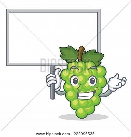 Bring board green grapes character cartoon vector illustration
