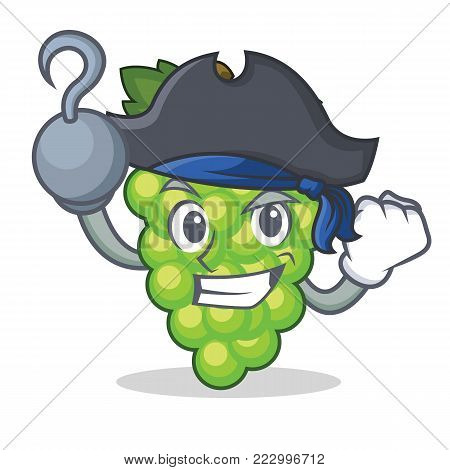 Pirate green grapes character cartoon vector illustration