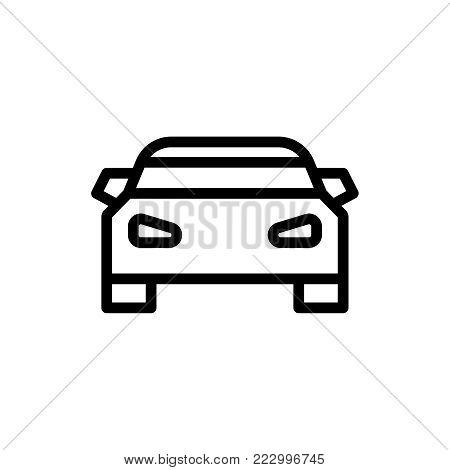 Car flat icon. Single high quality outline symbol of info for web design or mobile app. Thin line signs of chat for design logo, visit card, etc. Outline logo of transport.