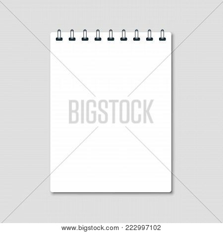 Vertical white notebook - clean notepad mockup isolated on gray background. Note page and notebook, notepad realistic illustration