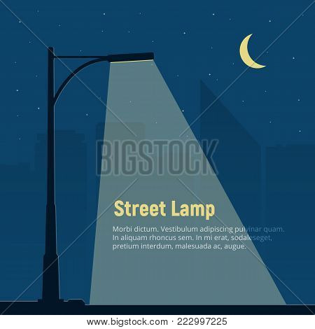 Lonely street lamp on background of the night city. Silhouette of a street light in the night. Vector illustration in flat style.
