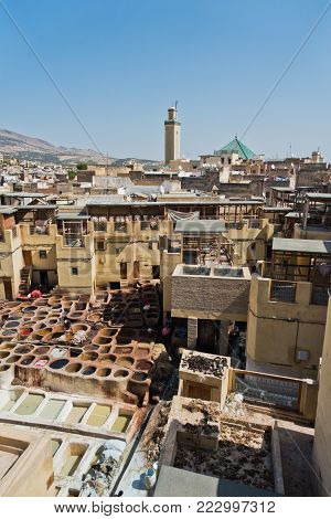 Oldest tannery at Medina of Fez, Morocco, Africa