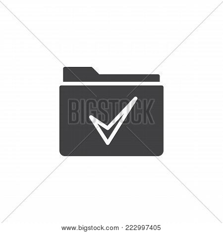 Folder with a check mark icon vector, filled flat sign, solid pictogram isolated on white. Approved Check folder symbol, logo illustration.