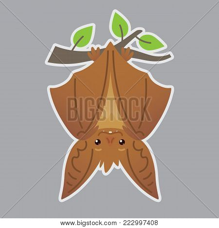 Bat handing upside down on branch. Vector illustration of bat-eared brown creature with closed wings in flat style with silhouette syblayer. Sticker. Print design. Cute Halloween bat vampire icon