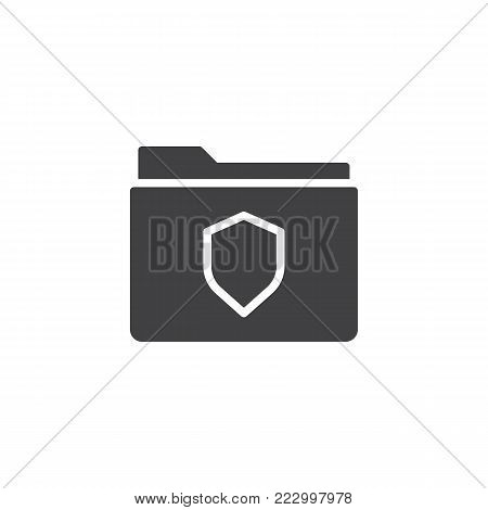 Folder protection icon vector, filled flat sign, solid pictogram isolated on white. File folder with secure shield symbol, logo illustration.