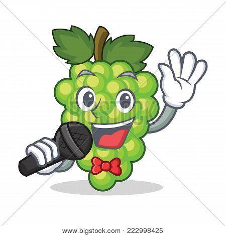 Singing green grapes mascot cartoon vector illustration
