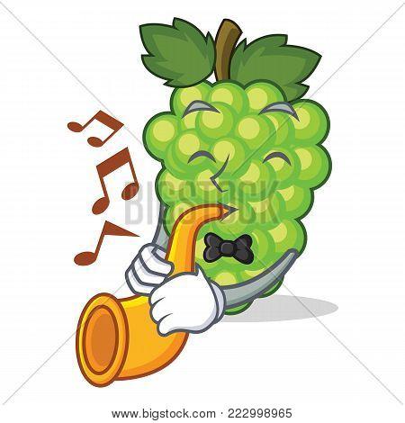 With trumpet green grapes mascot cartoon vector illustration