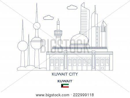 Kuwait City Linear Skyline, Kuwait. Famous places