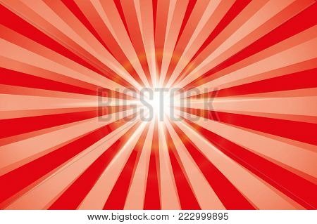 Red shiny starburst background. Sunburst abstract texture.Vector illustration.
