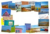 Collage from fabulous location of Magdalen island in Canada on white background with copy space in the middle  poster