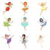 Colorful set of fairies in flying action. Little creatures with colorful hair and wings. Mythical fairy tale characters in cute dresses. Vector illustration in flat style isolated on white background. poster