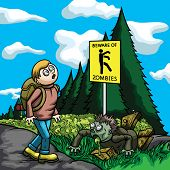 Illustration a tourist, walking on a road. He looks at the caution sign 'beware of zombies', but doesn't see a zombie one poster