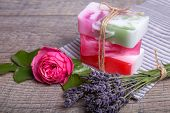 Handmade Soap with bath and spa accessories. Dried lavender and nostalgic pink rose. Spa background poster