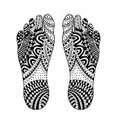The imprint of the feet of a man. Foot Zen drawing. Tangle pattern vector illustration. Handmade sole. Black and white. poster