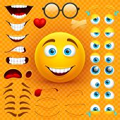 Cartoon yellow 3d smiley face vector character creation constructor. Emoji with emotions, eyes and mouthes set. Illustration of emoticon face smiley, creation smile mood poster
