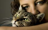 beautiful woman with a bautiful cat poster