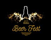 Beer fest. Splash of beer with bubbles on a black background. Vector illustration with a silhouette of a bottle and a splash in the form of wings poster