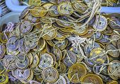 Old Chinese Copper Qing Dynasty Money Coins Panjuan Flea Market Beijing China.  Panjuan Flea Curio market has many fakes, replicas and copies of older Chinese products, many ancient. Chinese would tie money together to hide it before there were banks. poster