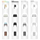 Library furniture, a book store sign, a table with manuscripts, a bookcase. Library set collection icons in cartoon black monochrome outline style vector symbol stock illustration . poster