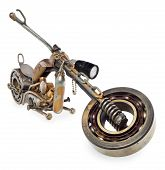 Handmade motorcycle, chopper, cruiser made of metal parts, bearings, screwdrivers, motor candles, wires, chains. A motorbike model isolated on a white background with a slight shadow and reflection. poster