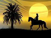 Woman riding with her horse in the sunset poster