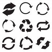 Circle arrow icon. Refresh and reload arrow icon. Rotation vector arrows set. Vector illustartion. poster