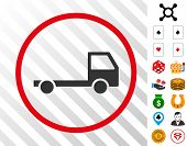 Truck Chassis grey pictograph inside red round frame with bonus casino pictographs. Vector illustration style is flat iconic symbols. Designed for gamble software. poster
