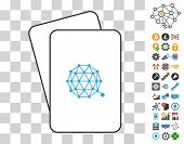 Qtum Currency playing cards icon with additional bitcoin mining and blockchain graphic icons. Flat vector images for blockchain toolbars. poster
