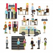 Bank people vector icon set with bank teller, managers, customer service representatives, armed collectors, security guard, customers waiting in line at cashbox and ATM. Flat style design elements. poster
