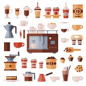 Coffee set vector coffeemachine with coffeecups for hot espresso or cappuccino and beverages with caffeine in plastic cups takeaway in coffeeshop illustration isolated on white background. poster